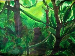 Dschungelbilder malen und collagieren for Dschungel malen